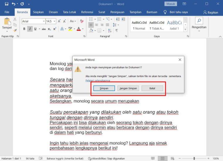 Cara ke-3 Menutup Dokumen di Word