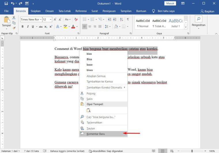 Cara ke-3 Menyisipkan Comments di Word