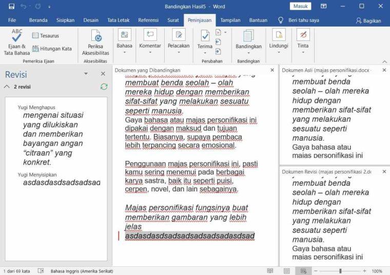 Cara ke-4 Compare Document pada Word