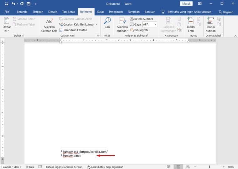 Cara ke-4 Membuat Footnote di Word
