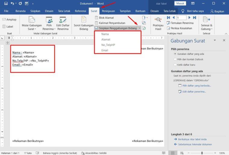 Cara ke-10 Membuat Mail Merge di Word