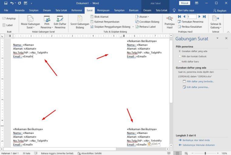 Cara ke-11 Membuat Mail Merge di Word