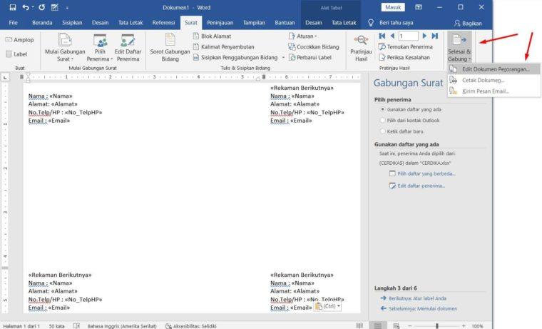 Cara ke-12 Membuat Mail Merge di Word
