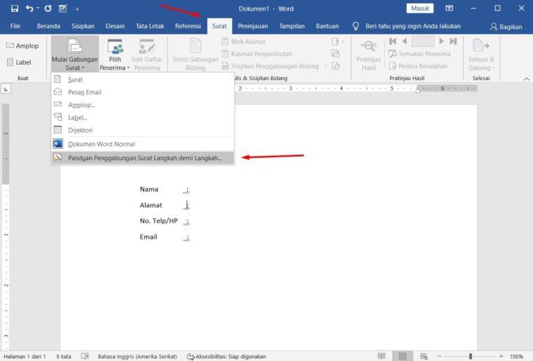 Cara ke-5 Membuat Mail Merge di Word