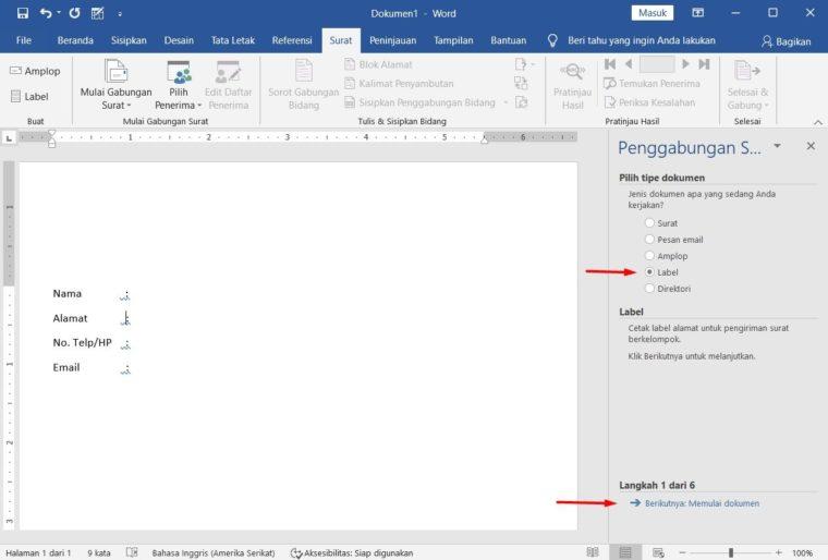 Cara ke-6 Membuat Mail Merge di Word
