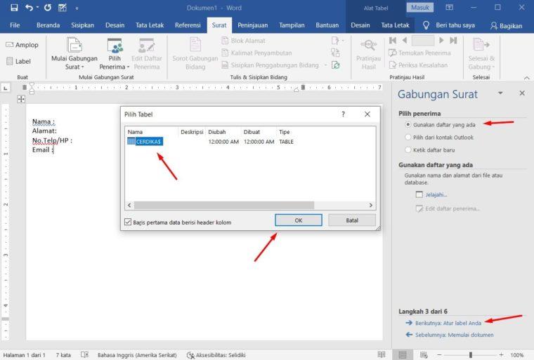 Cara ke-8 Membuat Mail Merge di Word