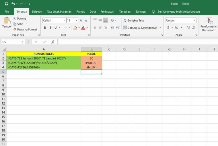 Contoh Kedua Penggunaan Rumus DAYS Excel