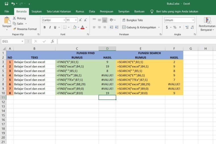 Contoh Penggunaan Fungsi FIND dan SEARCH Excel