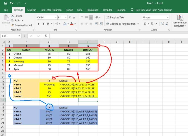 Contoh Penggunaan Fungsi VLOOKUP Excel