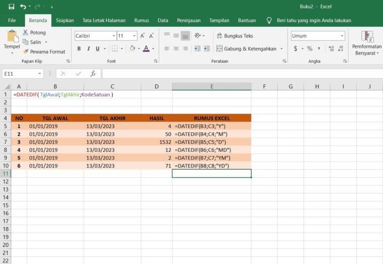 Contoh Penggunaan Rumus DATEDIF Excel