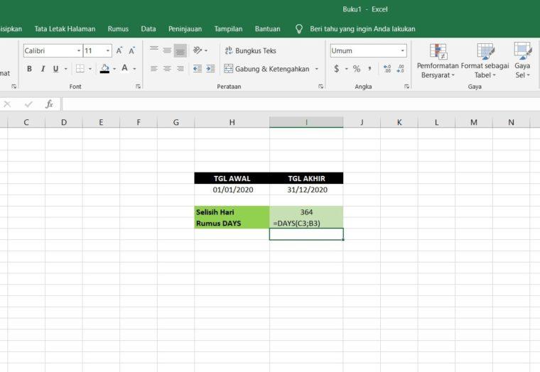 Contoh Penggunaan Rumus DAYS Excel
