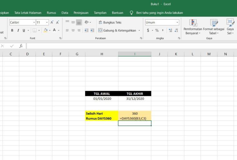 Contoh Penggunaan Rumus DAYS360 Excel