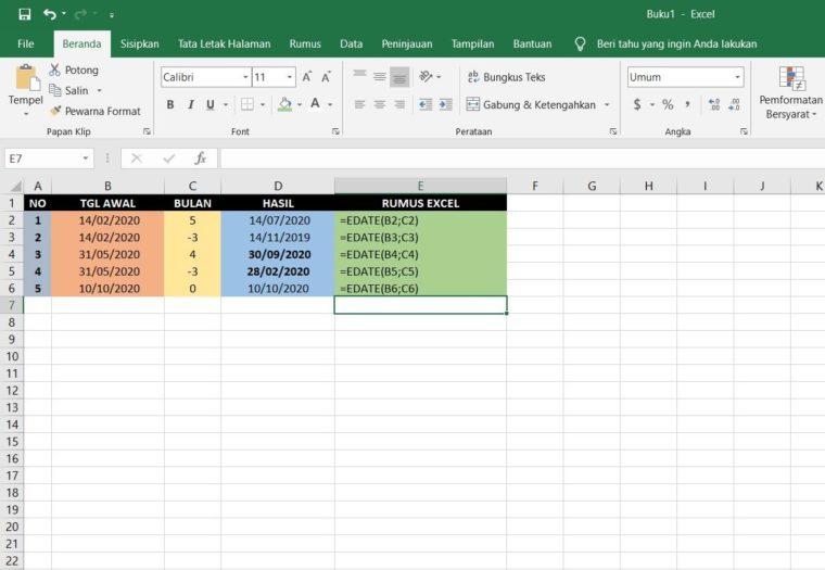 Contoh Penggunaan Rumus EDATE Excel