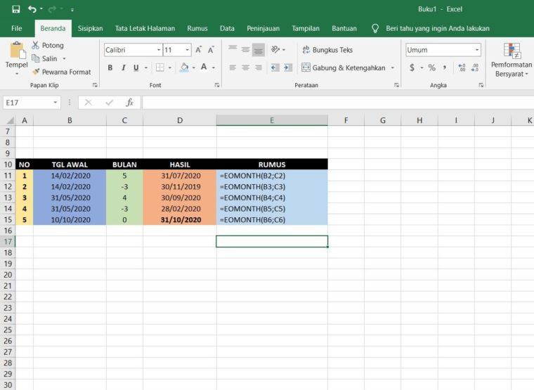Contoh Penggunaan Rumus EOMONTH Excel