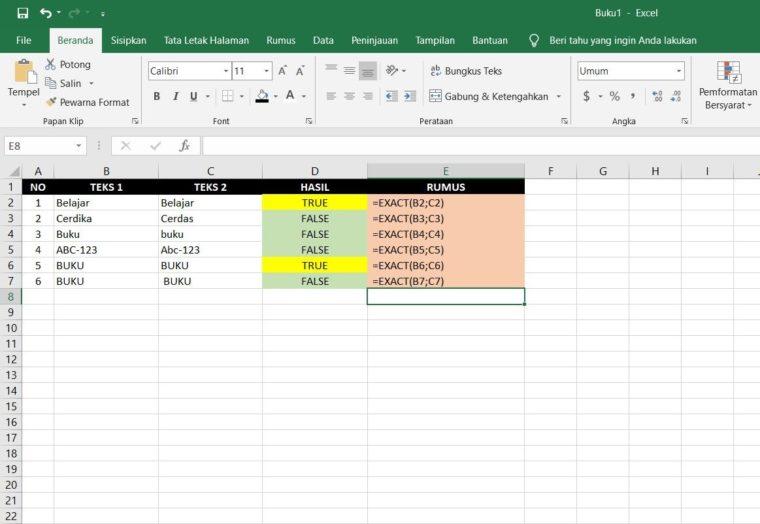 Contoh Penggunaan Rumus EXACT Excel