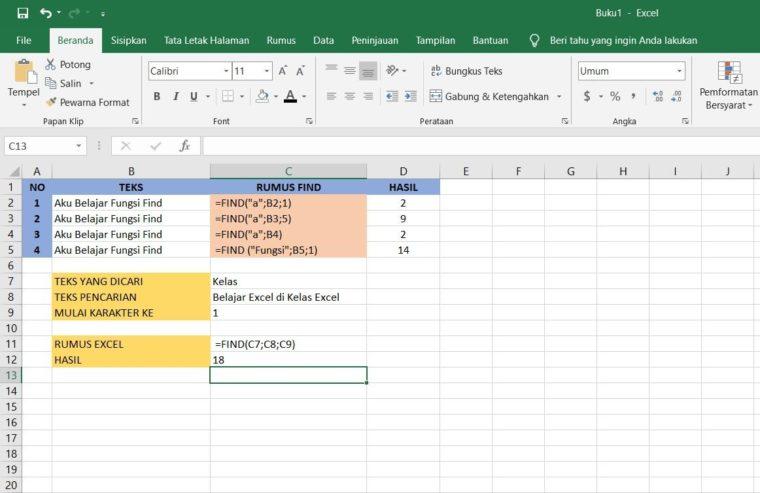 Contoh Penggunaan Rumus FIND Excel