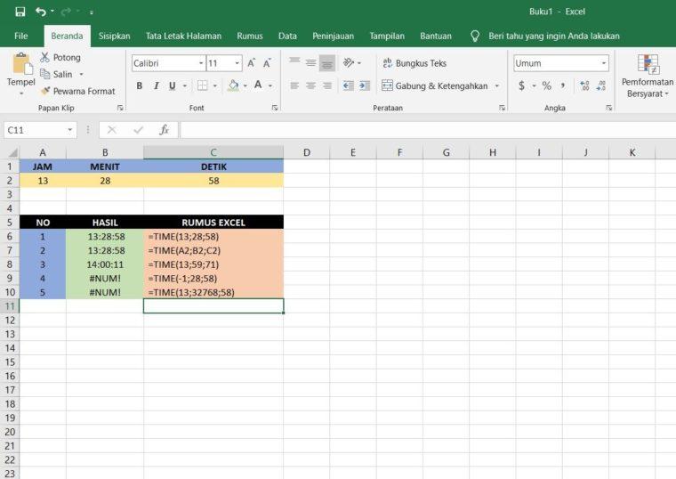 Contoh Penggunaan Rumus Fungsi TIME Excel
