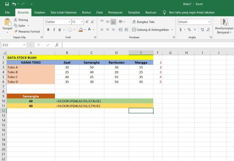 Contoh Penggunaan Rumus HLOOKUP Excel