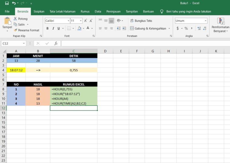 Contoh Penggunaan Rumus HOUR Excel