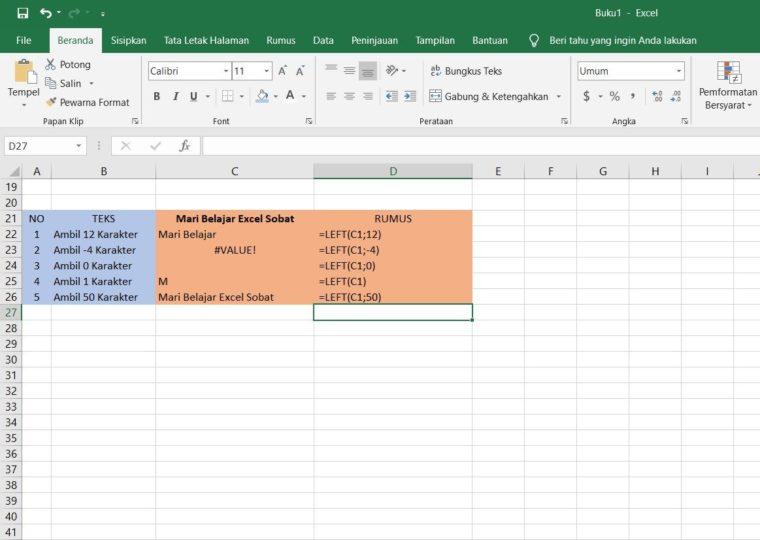 Contoh Penggunaan Rumus LEFT Excel