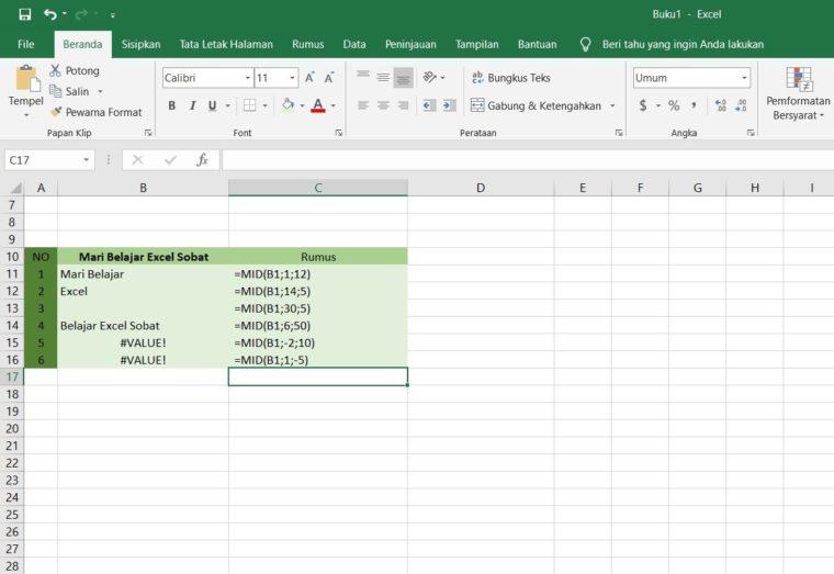 Contoh Penggunaan Rumus MID Excel