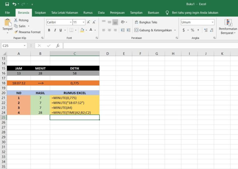 Contoh Penggunaan Rumus MINUTE Excel