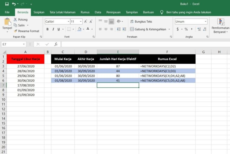 Contoh Penggunaan Rumus NETWORKDAYS Excel