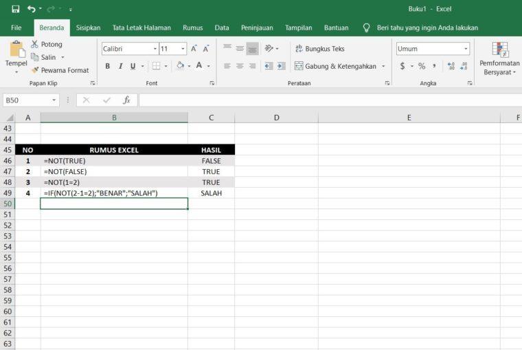 Contoh Penggunaan Rumus NOT Excel