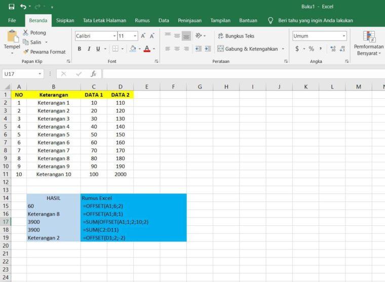 Contoh Penggunaan Rumus OFFSET Excel