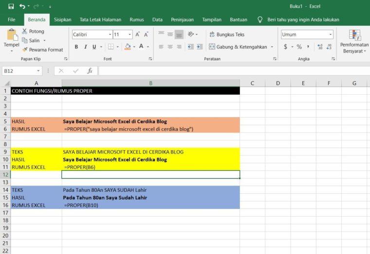 Contoh Penggunaan Rumus PROPER Excel