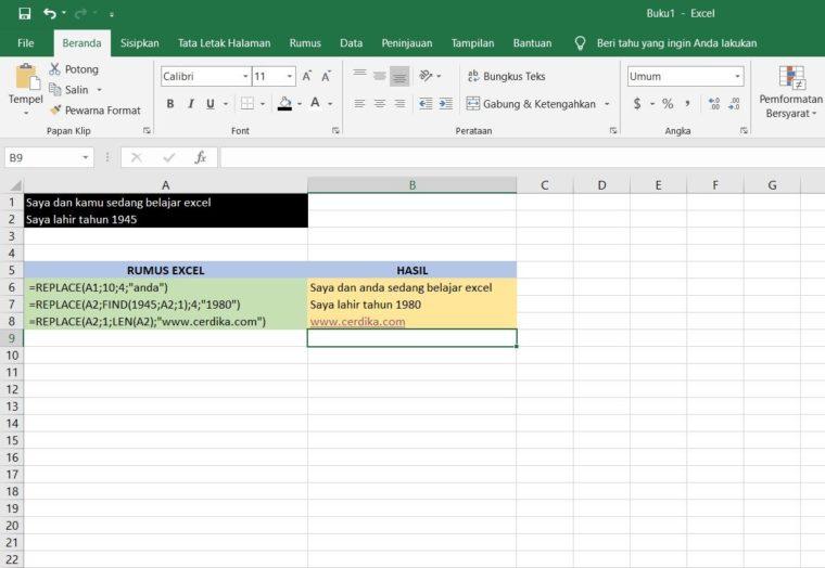 Contoh Penggunaan Rumus REPLACE Excel