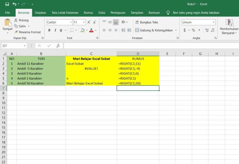 Contoh Penggunaan Rumus RIGHT Excel