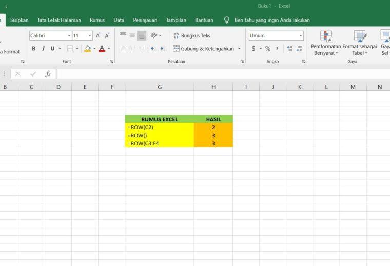 Contoh Penggunaan Rumus ROW Excel