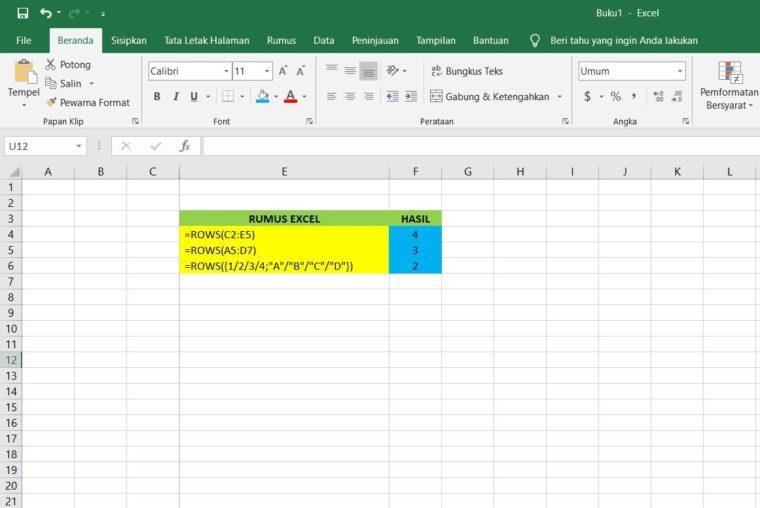 Contoh Penggunaan Rumus ROWS Excel