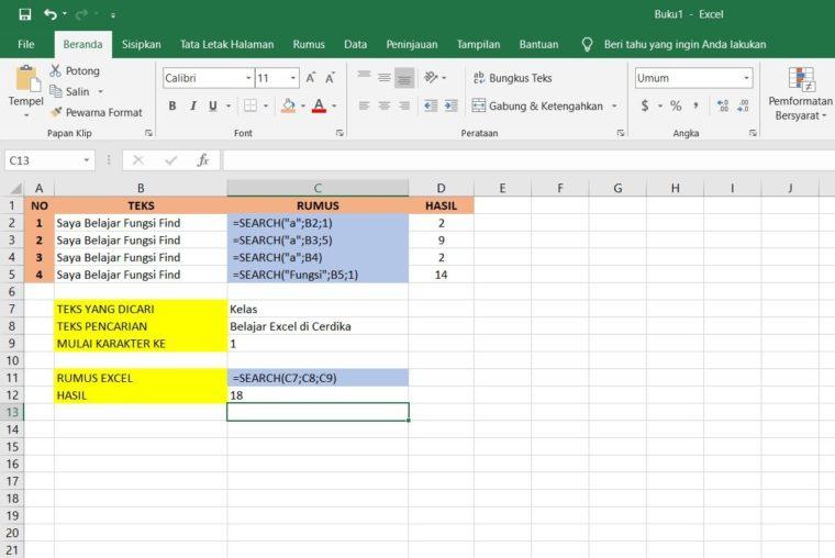Contoh Penggunaan Rumus SEARCH Excel
