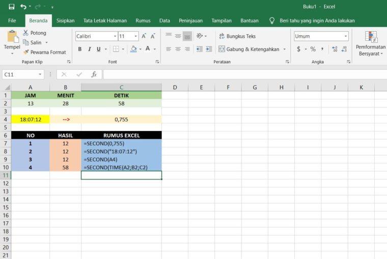 Contoh Penggunaan Rumus SECOND Excel