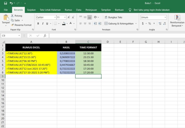 Contoh Penggunaan Rumus TIMEVALUE Excel