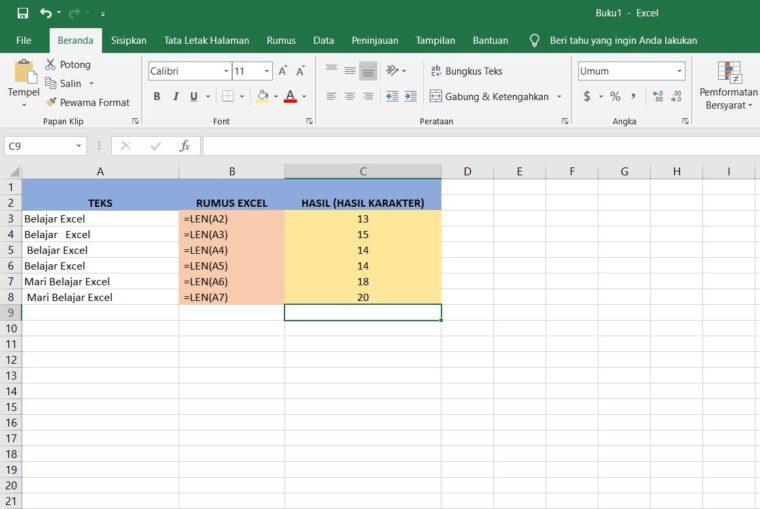 Contoh Penggunaan Rumus TRIM Excel