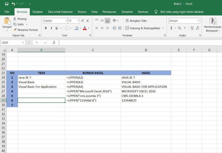 Contoh Penggunaan Rumus UPPER Excel