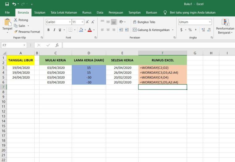 Contoh Penggunaan Rumus WORKDAY Excel