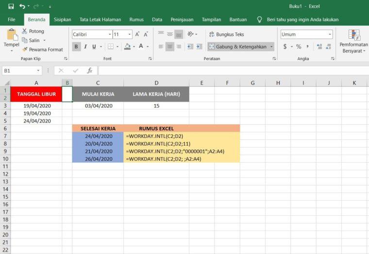 Contoh Penggunaan Rumus WORKDAY.INTL Excel