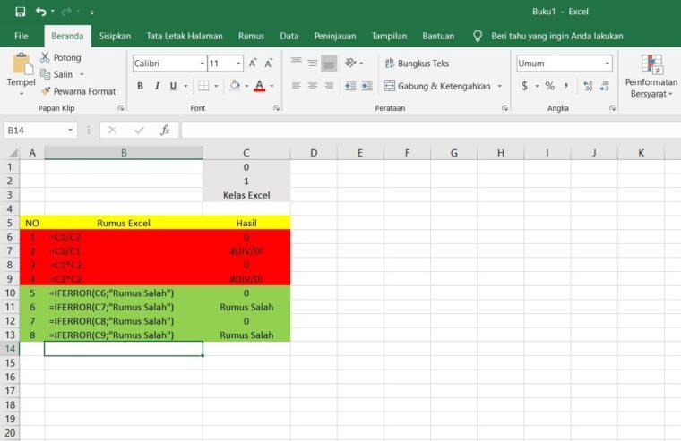 Contoh Rumus IFERROR Excel
