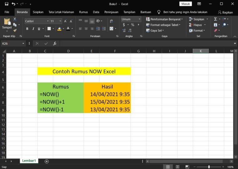 Contoh Rumus NOW Excel