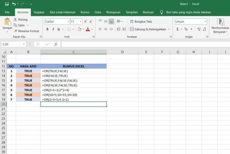 Contoh Rumus OR Excel 1