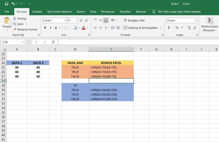 Contoh Rumus OR Excel 2