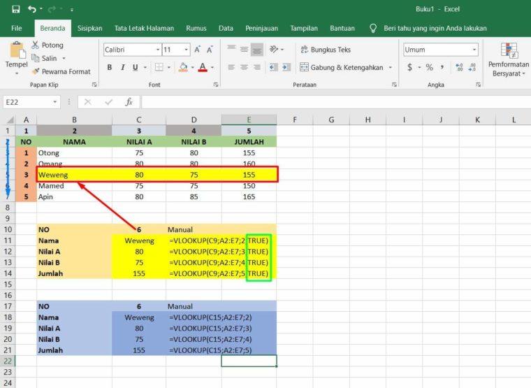Contoh ke-2 Penggunaan Fungsi VLOOKUP Excel