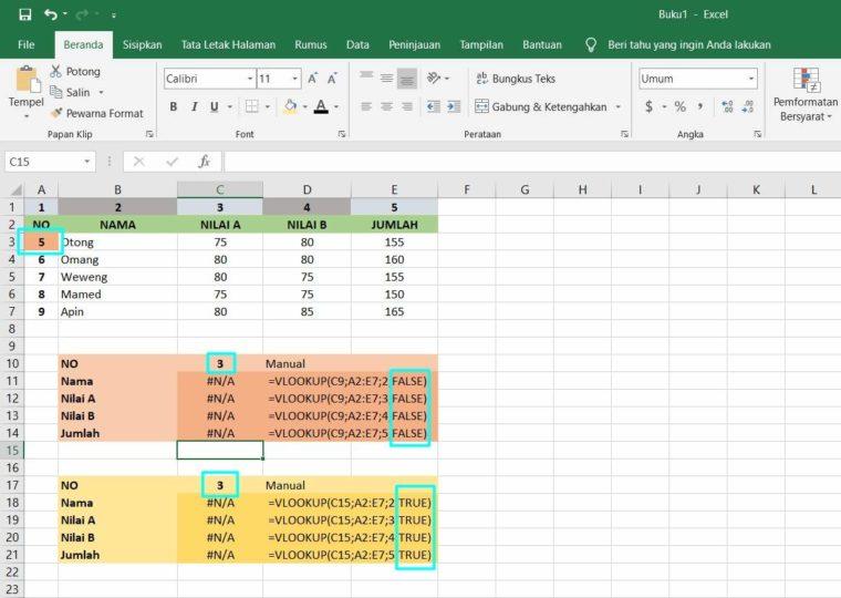 Contoh ke-3 Penggunaan Fungsi VLOOKUP Excel