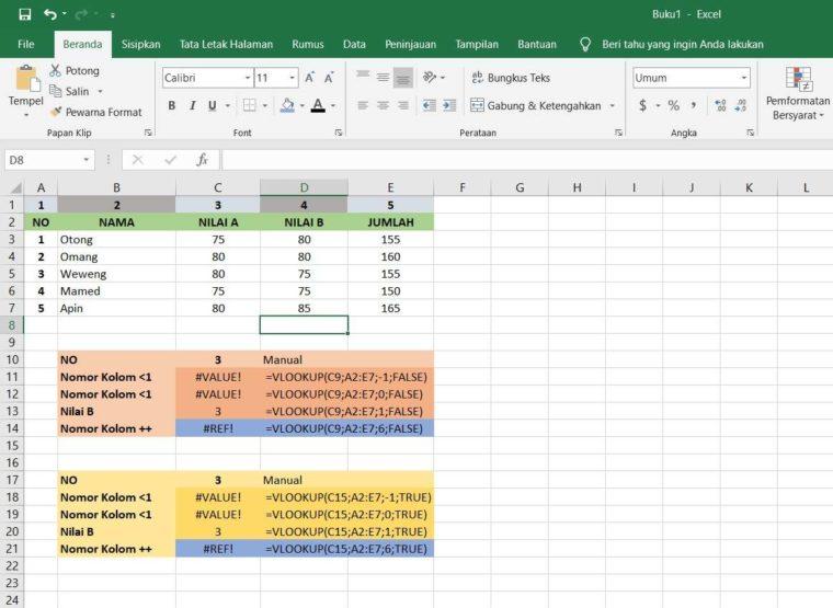Contoh ke-4 Penggunaan Fungsi VLOOKUP Excel