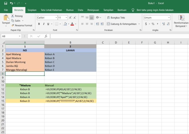 Contoh ke-5 Penggunaan Fungsi VLOOKUP Excel