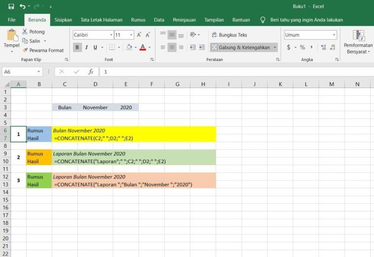 Menggabungkan Beberapa Cell Excel
